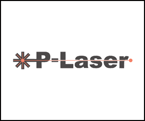 A picture of the P-Laser logo in a box boundary.